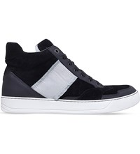 Lanvin Ribbon High Top Suede And Leather Trainers Black