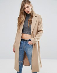 Miss Selfridge Midi Belted Coat Camel Beige