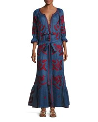 Vita Kin 3 4 Sleeve Embroidered Tunic Maxi Dress Blue Red