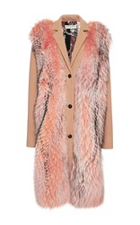 Emilio Pucci Raccoon Fur Embellished Wool Coat Brown