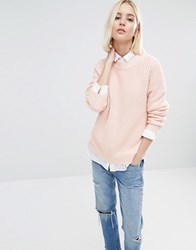 Selected Flora Raglan Jumper Peach Whip Pink