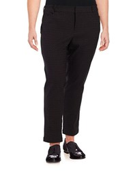 Lord And Taylor Plus Straight Leg Jacquard Ankle Pants Black