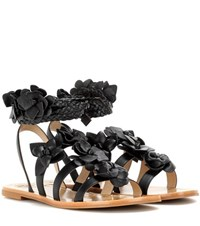 Tory Burch Blossom Leather Gladiator Sandals Black