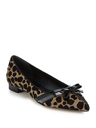 Michael Kors Joey Cheetah Print Calf Hair And Patent Leather Flats Fawn