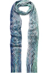 Missoni Fringed Crochet Knit Scarf Blue