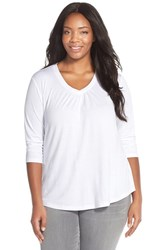 Plus Size Women's Sejour Three Quarter Sleeve Tee White