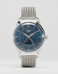 Henry London Knightsbridge Moonphase Silver Mesh Watch With Date