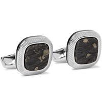Tateossian Rhodium Plated Slate And Pyrite Cufflinks Silver