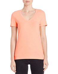 Lord And Taylor Plus Stretch Cotton V Neck Tee Peach Fuzz