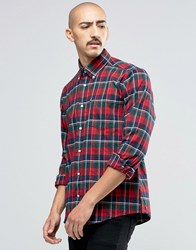 Barbour Shirt In Castlebay Check Tailored Slim Fit Red Rich Red