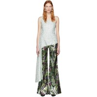 Halpern Green And White Sequin Single Shoulder Tank Top