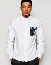 Franklin And Marshall Oxford Shirt With Floral Print Contrast Pocket White