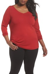 Sejour Plus Size Women's Wide V Neck Tee Red Couture
