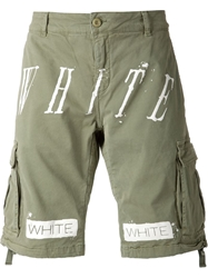 Off White Striped Cargo Shorts Green