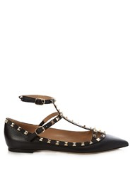 Valentino Rockstud Leather Flats Black