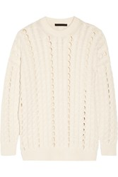 Alexander Wang Open Cable Knit Cotton Sweater Cream