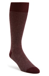 John W. Nordstrom Bird's Eye Pattern Socks Burgundy