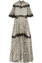 Valentino Open Back Lace Trimmed Printed Silk Chiffon Gown Gray