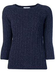 Circolo 1901 Long Sleeve Fitted Sweater Blue