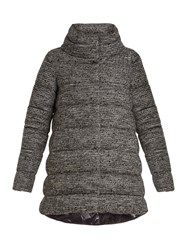 Herno Wool And Cotton Blend Boucle Coat Grey Multi
