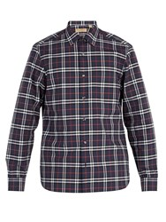 Burberry House Check Cotton Shirt Navy