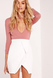 Missguided Petite White Origami Wrap Scuba Mini Skirt
