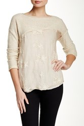 Luma Sequin Lace Trim Sweater Beige