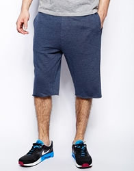 Asos Jersey Shorts In Longer Length Navy