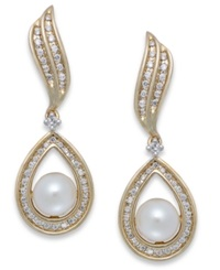 Macy's Cultured Freshwater Pearl 6 1 2Mm And Diamond 1 3 Ct. T.W. Earrings In 14K Gold Yellow Gold