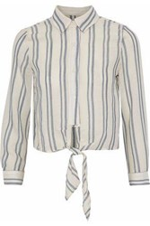 Solid And Striped Tie Front Cotton Gauze Shirt White