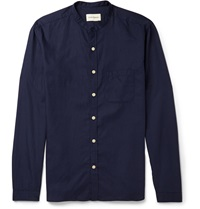 Oliver Spencer Grandad Collar Linen Shirt Blue