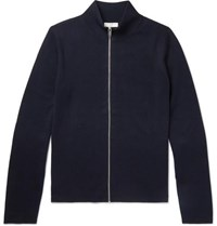 Sandro Wool Zip Up Cardigan Midnight Blue