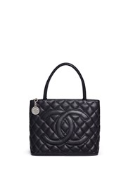 Vintage Chanel Medallion Quilted Caviar Leather Tote Black