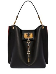 Valentino Garavani Vlogo Escape Grained Leather Hobo Bag Black