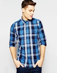 French Connection Long Sleeve Large Blue Check Shirt Blue Red