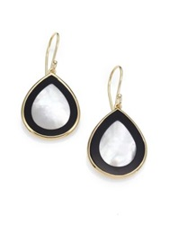 Ippolita Polished Rock Candy Mother Of Pearl Black Onyx And 18K Yellow Gold Mini Teardrop Earrings Gold Black