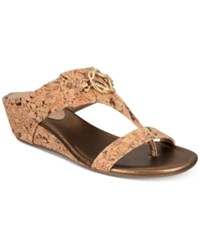 Impo Guevera Slip On Thong Wedge Sandals Women's Shoes Natural Cork