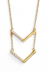 Argentovivo Tiered V Pendant Necklace Gold