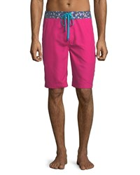 Robert Graham Dos Rios Graphic Trim Swim Trunks With Wet Dry Color Change Effect Red