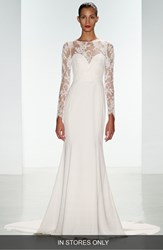Women's Nouvelle Amsale 'Noelle' Long Sleeve Lace And Crepe Gown In Stores Only