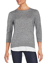 Calvin Klein Double Layered Woven Sweater Black White