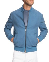 Berluti Leather Bomber Jacket Blue