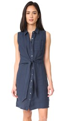 Three Dots Button Up Tie Front Dress Super Blue