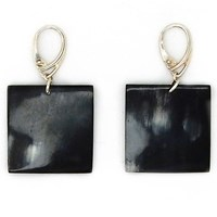 L'artisan Createur Small Square Horn Earrings Silver