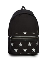 Saint Laurent Star Embellished Canvas Backpack Black Multi