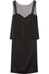 Maison Martin Margiela Open Back Mesh Trimmed Satin Dress Black