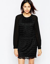 Greylin Scallop Lace Long Sleeve Dress With Crop Top Black