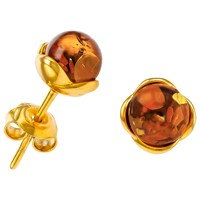 Be Jewelled Round Amber Stud Earrings Gold Cognac