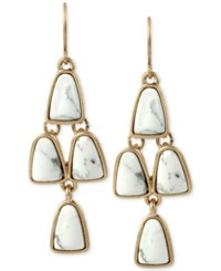 Kenneth Cole Gold Tone White Stone Chandelier Earrings