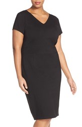 Plus Size Women's Sejour Ponte Knit V Neck Sheath Dress